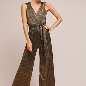 Anthropologie Gold Metallic Pont Neuf Jumpsuit